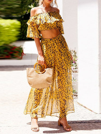 Yellow Chiffon Off Shoulder Floral Print Crop Top And Wide Leg Pants
