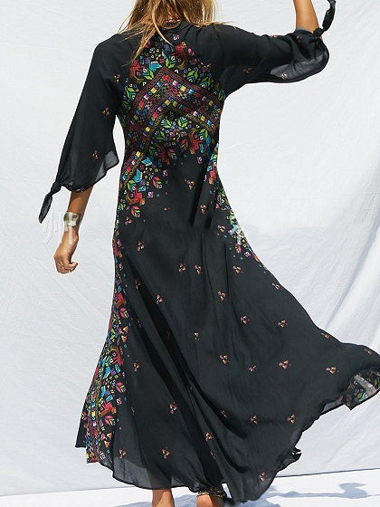 Black Plunge Folk Print Flare Sleeve Women Bohemian Maxi Dress