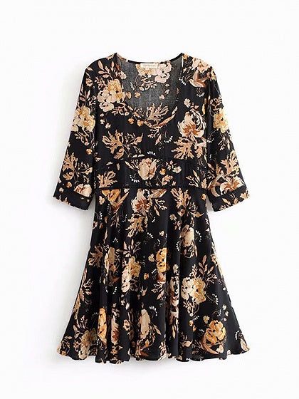 Black Cotton V-neck Floral Print Cut Out Detail Women Mini Dress