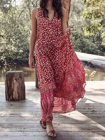 Red V-neck Floral Print Sleeveless Bohemian Maxi Dress