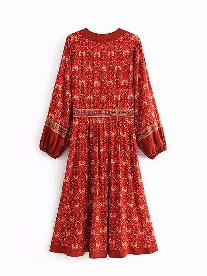 Red Cotton V-neck Floral Print Puff Sleeve Bohemian Hi-Lo Midi Dress