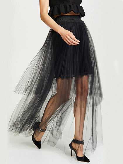 Black High Waist Women Sheer Mesh Maxi Skirt
