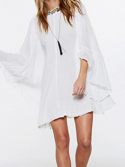 White Cotton Floral Embroidery Open Back Flare Sleeve Mini Dress