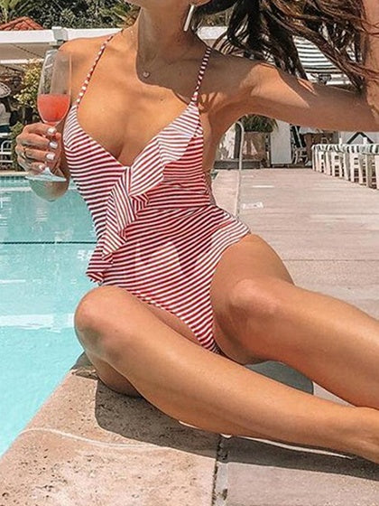 Red Stripe V-neck Spaghetti Strap Ruffle Trim Women Swimsuit