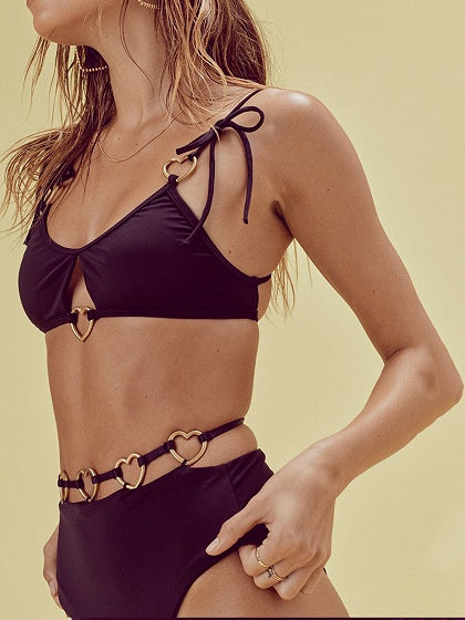 Black Heart Ring Embellished Bikini Top And High Waist Bottom