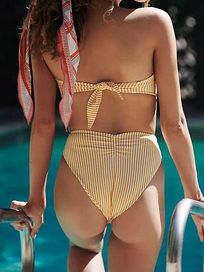Yellow Stripe Tie Front Women Bikini Top And High Waist Bottom