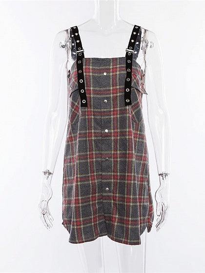 Gray Plaid Button Placket Front Women Cami Mini Dress