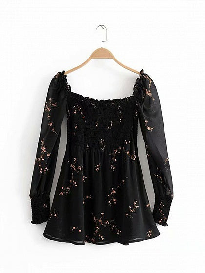 Black Cotton Square Neck Plum Blossom Print Puff Sleeve Mini Dress
