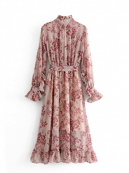 Red Floral Print Tie Waist Ruffle Trim Long Sleeve Women Maxi Dress