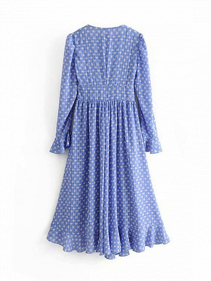 Blue V-neck Star Print Ruffle Trim Flare Sleeve Women Maxi Dress