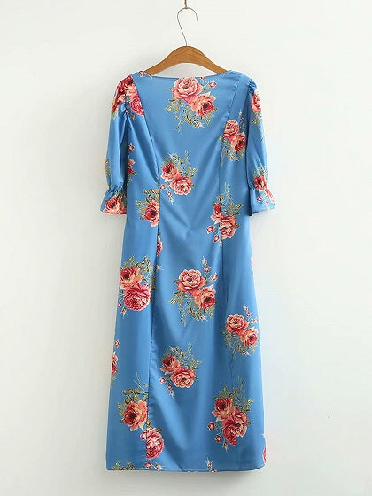 Blue Square Neck Floral Print Ruffle Sleeve Women Maxi Dress
