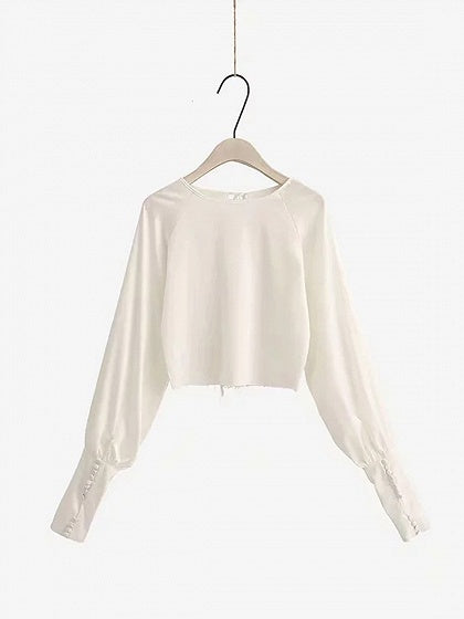 White Button Placket Cuff Puff Sleeve Women Crop Top