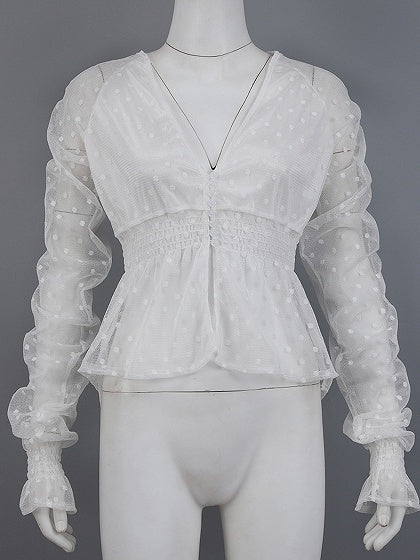 White Plunge Dipped Hem Flare Sleeve Women Lace Shirt