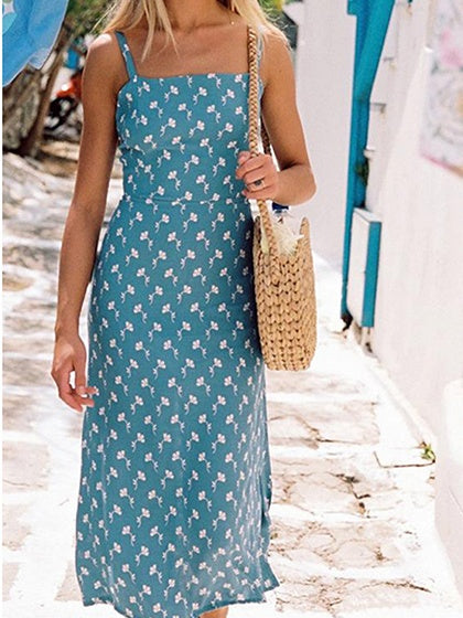 Blue Chiffon Floral Print Tie Back Women Cami Midi Dress