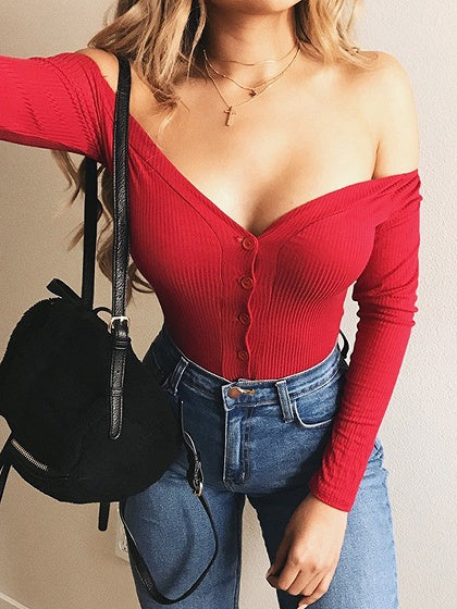 0a8b5cdac9 Red Ribbed V-neck Cold Shoulder Button Placket Long Sleeve Bodysuit