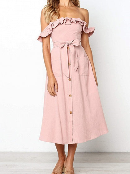 Pink Off Shoulder Ruffle Trim Button Placket Front Midi Dress