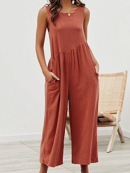 Red Cotton Open Back Sleeveless Women Jumpsuit