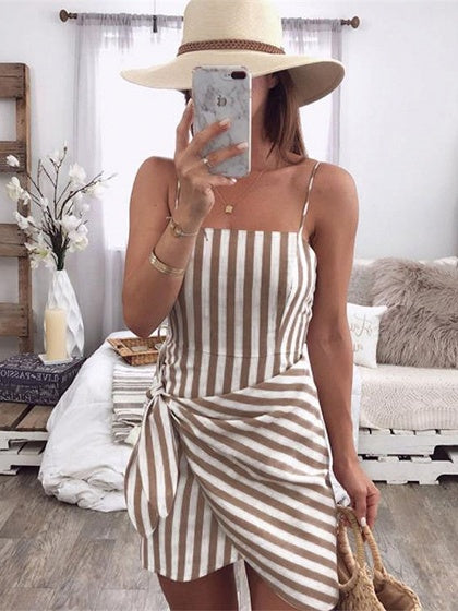Brown Stripe Tie Waist Women Cami Mini Dress