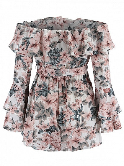 Polychrome Off Shoulder Floral Print Tie Waist Flare Sleeve Playsuit