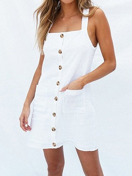 White Cotton Button Placket Front Women Cami Mini Dress