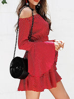 Red Off Shoulder Polka Dot Print Flare Sleeve Women Mini Dress