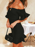 Black Off Shoulder Ruffle Hem Flare Sleeve Mini Dress