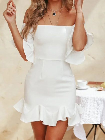 White Off Shoulder Ruffle Hem Flare Sleeve Mini Dress