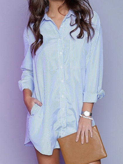 Blue Stripe Cotton Pockets Detail Long Sleeve Women Shirt