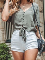 Gray Cotton V-neck Tie Front Flare Sleeve Women Shirt