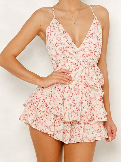 Pink Spaghetti Strap Plunge Floral Print Open Back Playsuit