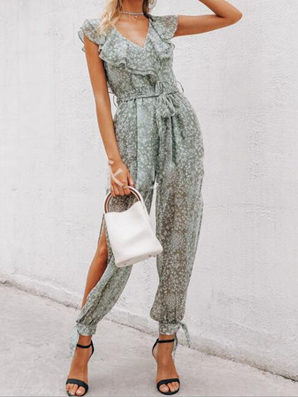 Green V-neck Floral Print Ruffle Trim Sleeveless Jumpsuit