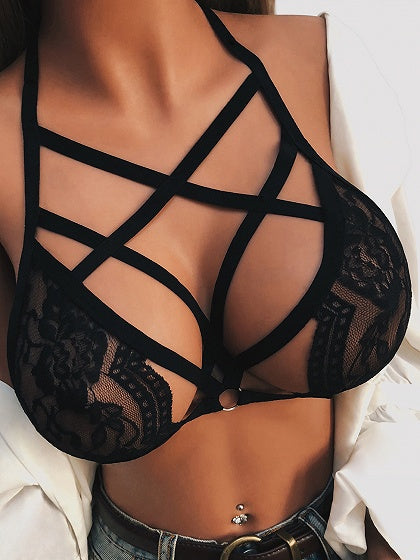 Black Halter Cut Out Detail Bralet