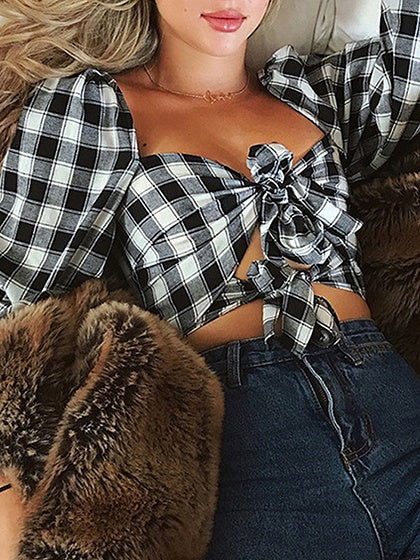 Black Plaid Square Neck Tie Front Puff Sleeve Crop Blouse