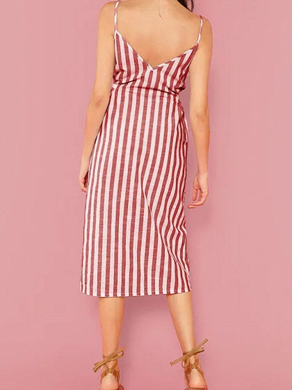 Red Stripe Button Placket Front Tie Waist Cami Midi Dress