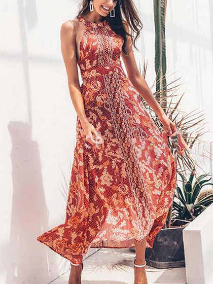 132b020858b Red Halter Floral Print Lace Up Front Open Back Maxi Dress
