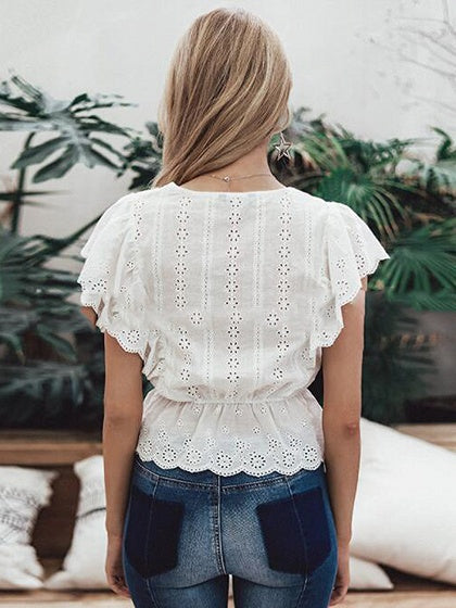 White V-neck Ruffle Trim Shirt