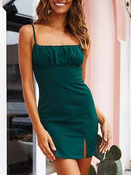 Green Split Front Cami Mini Dress