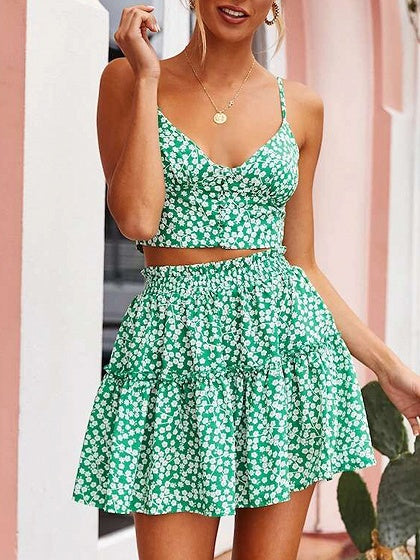 44e16bed1 Green V-neck Floral Print Crop Cami Top And High Waist Mini Skirt