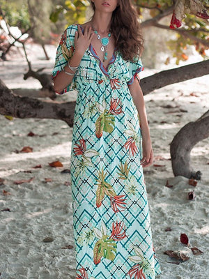 Green Plunge Leaf And Geo Pattern Print Batwing Sleeve Maxi Dress