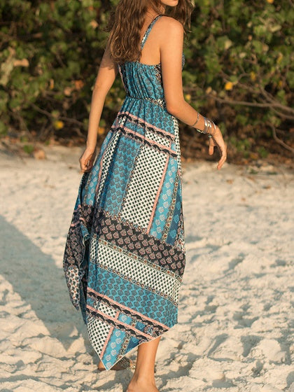 Green Plunge Folk Print Bohemian Cami Maxi Dress