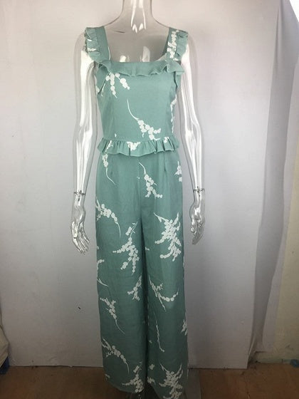 Blue Shoulder Strap Floral Print Ruffle Trim Jumpsuit