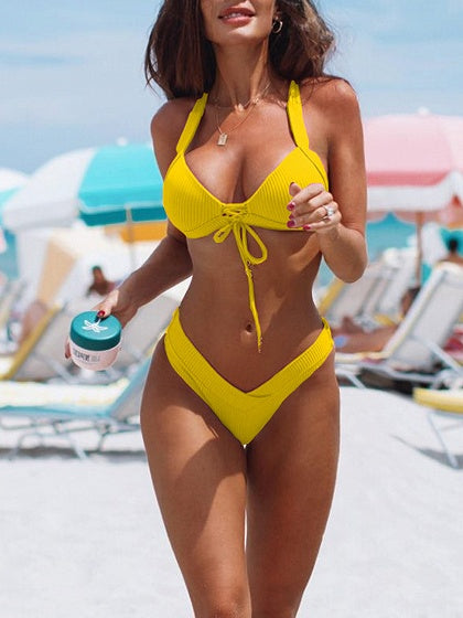 Yellow Halter Bikini Top And High Waist Bottom