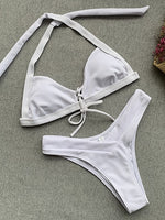 White Halter Bikini Top And High Waist Bottom