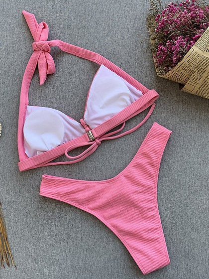 Pink Halter Bikini Top And High Waist Bottom