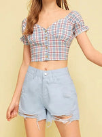 Red Contrast Plaid V-neck Puff Sleeve Crop Shirt