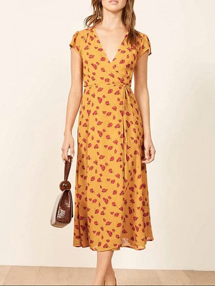 Yellow V-neck Floral Print Tie Waist Midi Dress