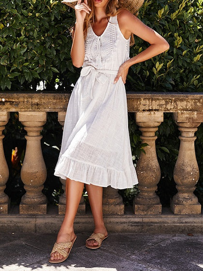 White V-neck Tie Waist Ruffle Hem Sleeveless Midi Dress