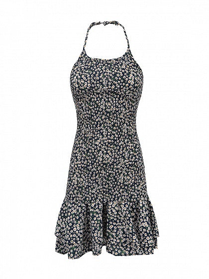 Blue Floral Print Ruffle Trim Cami Mini Dress
