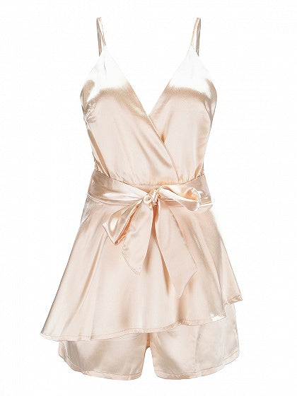 Golden Spaghetti Strap V-neck Tie Waist Ruffle Trim Playsuit