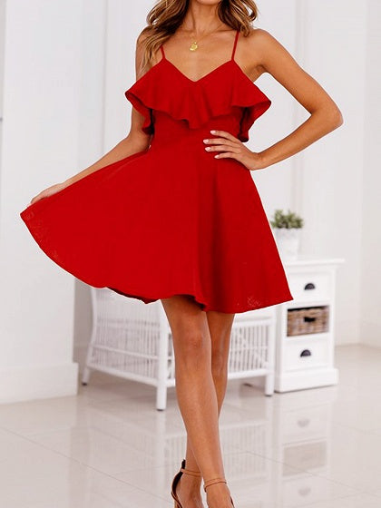 Red V-neck Open Back Ruffle Trim Cami Mini Dress